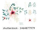 set of floral branch. botanic ... | Shutterstock .eps vector #1464877979