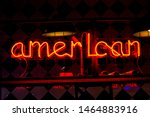 glowing neon red sign american... | Shutterstock . vector #1464883916