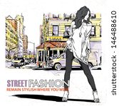 cute fashion girl on a street... | Shutterstock .eps vector #146488610