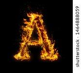 letter a. fire flames on black...   Shutterstock . vector #1464888059