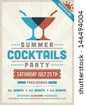 Retro summer party design poster or flyer. Night club event typography. Vector template illustration.  - stock vector
