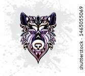 decorative wolf rousing color... | Shutterstock .eps vector #1465055069