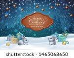 christmas winter scene. vector... | Shutterstock .eps vector #1465068650