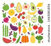 doodle flat fruits and... | Shutterstock . vector #1465081856
