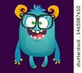Stock photo funny bigfoot wearing eyeglasses waving illustration of excited monster 1465087610