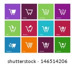 shopping cart icons on color...