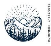 mountain vintage circle emblem. ... | Shutterstock .eps vector #1465170956