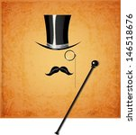 cylinder  moustache  monocle... | Shutterstock .eps vector #146518676