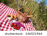 picnic blanket with champagne ... | Shutterstock . vector #146521964