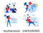 flat design concepts of staff... | Shutterstock .eps vector #1465330583
