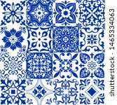 set of 16 tiles azulejos in... | Shutterstock .eps vector #1465334063