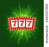 Jackpot sign with firework, cover of winning, lottery bingo. Gambling logo with 777 icons and sparkle on green, game machine, business success vector - stock vector