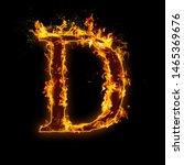letter d. fire flames on black...   Shutterstock . vector #1465369676