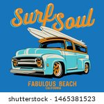 surf car drawing for t shirt...   Shutterstock .eps vector #1465381523