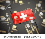 Credit card of swiss bank on the heap of other different black cards. Opening a bank account in Switzerland. 3d illustration