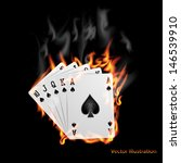 poker cards burn in the fire.  | Shutterstock .eps vector #146539910