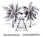 sketch of a tropical beach with ... | Shutterstock . vector #1465400993