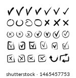 hand drawn check box signs.... | Shutterstock .eps vector #1465457753