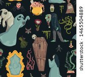 seamless pattern with creepy... | Shutterstock .eps vector #1465504889
