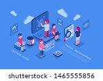 artificial virtual reality...   Shutterstock .eps vector #1465555856