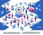 artificial quantum computing... | Shutterstock .eps vector #1465555910