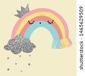 rainbow glitter cloud star... | Shutterstock .eps vector #1465629509