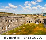 Small photo of Prospect, Maine/United States -7/2/2016: Fort Knox interior of parade ground and covered storage vaults