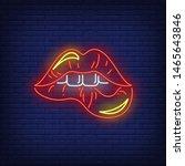 biting red lips neon sign.... | Shutterstock .eps vector #1465643846