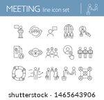 meeting line icon set. team ... | Shutterstock .eps vector #1465643906