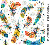 vector seamless feathers... | Shutterstock .eps vector #1465705823