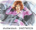 Stock photo watercolor portrait of scared woman in the car painting lady after crash sketching illustration 1465760126