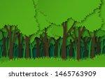 paper forest. green paper cut... | Shutterstock .eps vector #1465763909