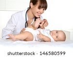 cute little child on survey by... | Shutterstock . vector #146580599
