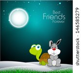 Stock vector happy friendship day concept with tortoise and hare in shiny night background 146585279