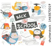 Stock vector set of cute owls with books back to school 1465870019