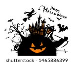 happy halloween. a castle of... | Shutterstock .eps vector #1465886399