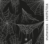 cobweb set on black. tangled... | Shutterstock .eps vector #1465927016