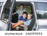 portrait of three smiling boys... | Shutterstock . vector #146595053