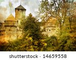 medieval swiss castle - artistic picture - stock photo