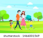 parents and children spend time ... | Shutterstock .eps vector #1466001569