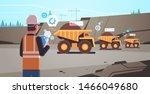 open pit man worker in helmet... | Shutterstock .eps vector #1466049680