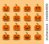 halloween pumpkin icon set with ... | Shutterstock .eps vector #1466064830