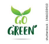 go green eco icon with leaves.... | Shutterstock .eps vector #1466103410