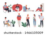 collection of people reading or ... | Shutterstock .eps vector #1466105009