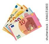 Euro Banknotes Flat Vector...