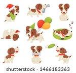 Set Of Cute Puppy. Vector...