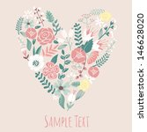 floral heart card. cute retro... | Shutterstock .eps vector #146628020