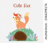 cute fox in flower wreath stand ... | Shutterstock .eps vector #1466298176