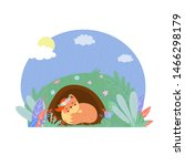 cute fox in flower wreath sleep ... | Shutterstock .eps vector #1466298179