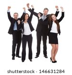 happy businesspeople jumping in ... | Shutterstock . vector #146631284